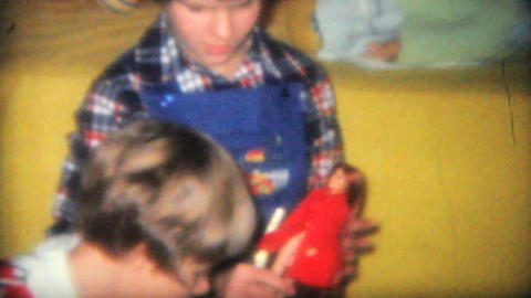 Kids Opening Presents At Christmas 1968 Vintage 8mm film Stock Video Footage