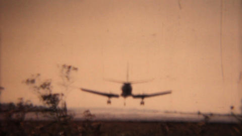 Small Airplane Comes In For Landing 1958 Vintage 8mm film Stock Video Footage