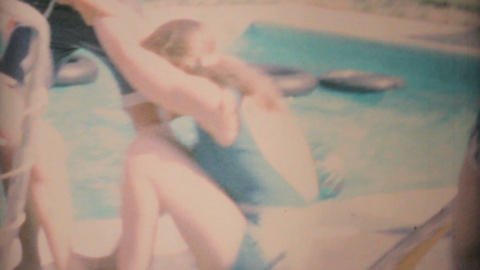 Teenage Girl Gets Thrown In Pool By Boys 1969 Vintage 8mm film Footage