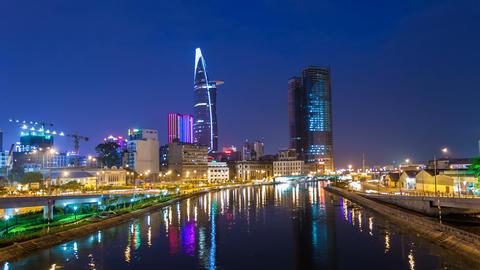 4K Ho Chi Minh City City Skyline Timelapse at night 4k Stock Video Footage