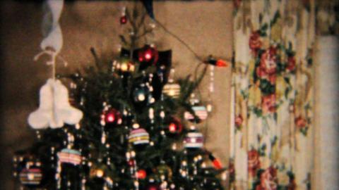 Beautiful Star On Christmas Tree 1958 Vintage 8mm film Stock Video Footage
