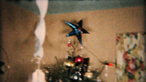 Beautiful Star On Christmas Tree 1958 Vintage 8mm film Footage