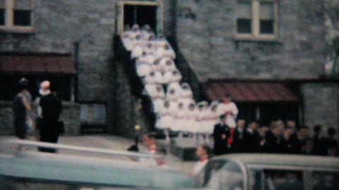 Catholic School Grads Leave Building 1964 Vintage 8mm film Stock Video Footage