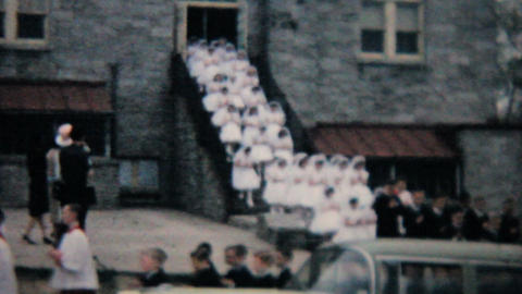 Catholic School Grads Leave Building 1964 Vintage 8mm film Stock Video Footage