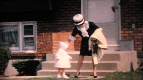 Mother And Daughter In Pretty Easter Outfits 1964 Vintage 8mm film Footage