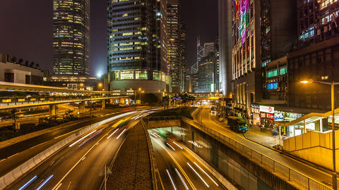Traffic in Hong Kong at Night Stock Video Footage
