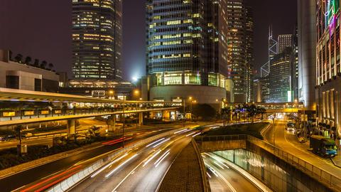 Traffic in Hong Kong at Night Footage