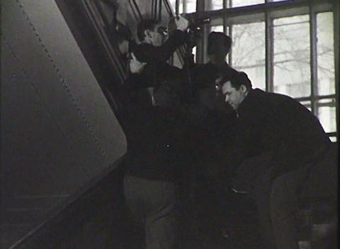 Newsreel. A group of reporters Stock Video Footage