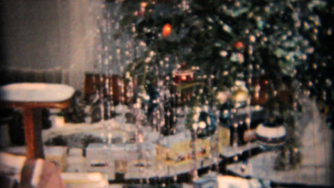 Christmas Tree And Random Bits 1958 Vintage 8mm film Stock Video Footage
