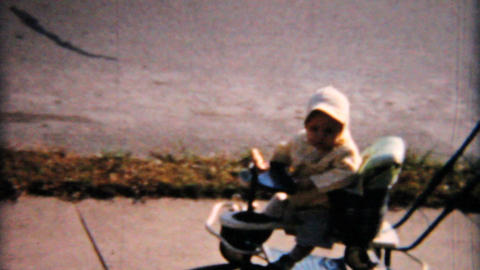 Mother Pushes Baby In Funky Stroller 1958 Vintage 8mm film Stock Video Footage