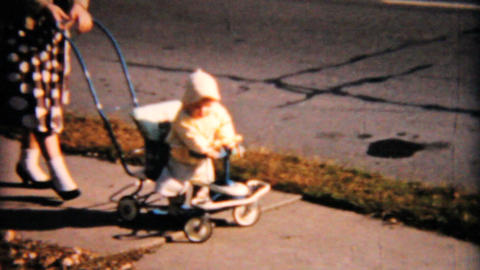 Mother Pushes Baby In Funky Stroller 1958 Vintage 8mm film Footage