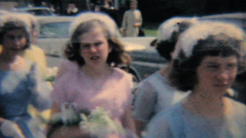 Teenage Girls In Pretty Graduation Dresses 1964 Vintage 8mm film Footage