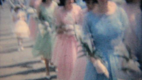 Teenage Girls In Pretty Graduation Dresses 1964 Vintage... Stock Video Footage