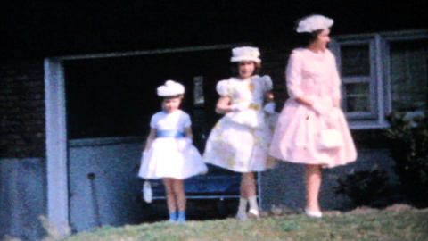 Three Sisters In Pretty Easter Dresses 1964 Vintage 8mm film Stock Video Footage
