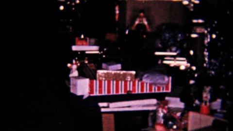 Christmas Scene New Dolls 1958 Vintage 8mm film Stock Video Footage