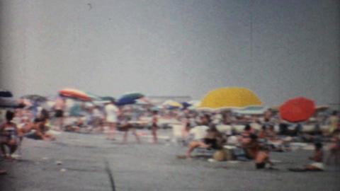 Crowds Enjoying A Florida Beach 1967 Vintage 8mm film Stock Video Footage
