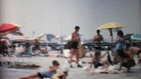 Crowds Enjoying A Florida Beach 1967 Vintage 8mm film Footage