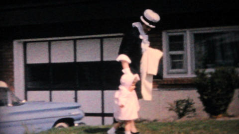 Mother And Daughter In Front of 1960 Parisienne Vintage... Stock Video Footage