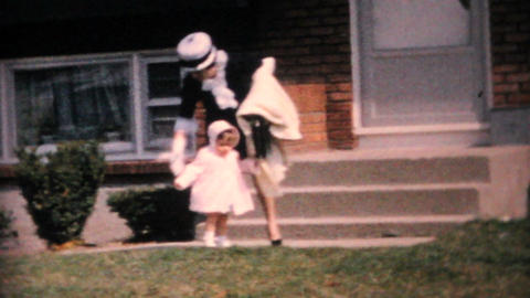 Mother And Daughter In Front of 1960 Parisienne Vintage 8mm film Footage
