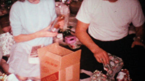 Opening Christmas Gifts 1967 Vintage 8mm film Stock Video Footage