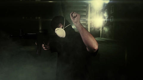 Masked Commando Man with Gun in Scary Alley 1 Footage