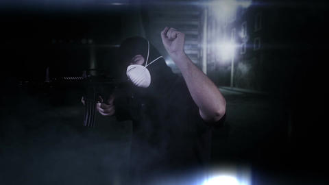 Masked Commando Man with Gun in Scary Alley 4 Footage