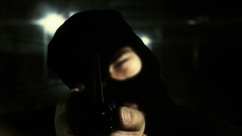 Masked Commando Man with Gun in Scary Alley 10 Stock Video Footage