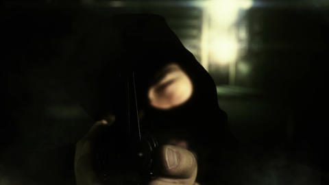 Masked Commando Man with Gun in Scary Alley 12 Stock Video Footage