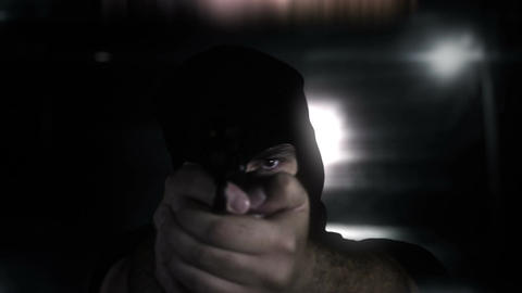 Masked Commando Man with Gun in Scary Alley 14 Stock Video Footage