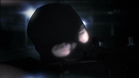 Masked Commando Man with Gun in Scary Alley 16 Stock Video Footage
