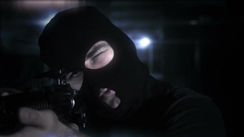 Masked Commando Man with Gun in Scary Alley 20 Stock Video Footage