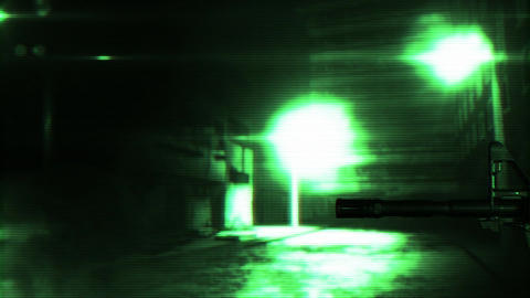 Masked Commando Man with Gun in Scary Alley Matrix 2 Stock Video Footage