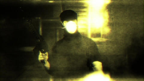 Masked Guard Man with Gun in Scary Alley 2 2 Stock Video Footage