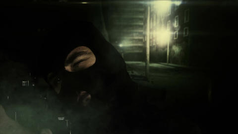 Masked Guard Man with Gun in Scary Alley 3 1 Stock Video Footage