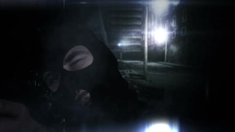 Masked Guard Man with Gun in Scary Alley 4 1 Stock Video Footage