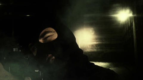 Masked Guard Man with Gun in Scary Alley 5 1 Stock Video Footage