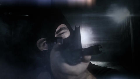Masked Guard Man with Gun in Scary Alley 6 1 Stock Video Footage