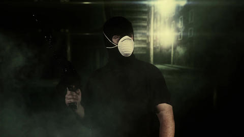 Masked Guard Man with Gun in Scary Alley 15 Footage