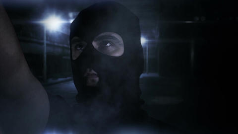 Masked Man with Gun in Scary Alley 2 Footage