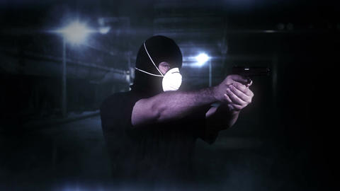 Masked Man with Gun Shooting in Scary Alley 2 Footage