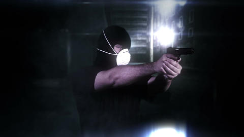 Masked Man with Gun Shooting in Scary Alley 4 Footage