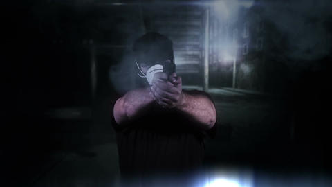 Masked Man with Gun Shooting in Scary Alley 4 Stock Video Footage