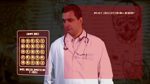 Young Doctor Accesing Futuristic Database 2 Stock Video Footage