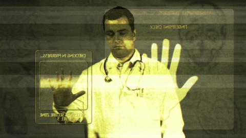 Young Doctor Accesing Futuristic Database Matrix 2 Stock Video Footage