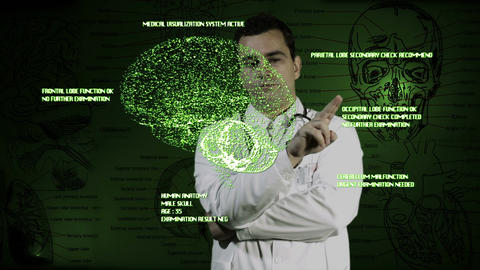 Young Doctor Touchscreen Medical Brain Examination 2 Stock Video Footage