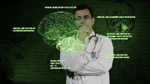 Young Doctor Touchscreen Medical Brain Examination 2 Footage