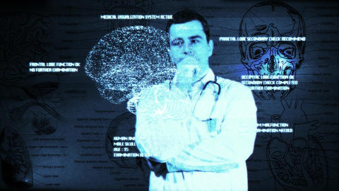 Young Doctor Touchscreen Medical Brain Examination Matrix 1 Footage