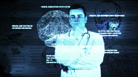Young Doctor Touchscreen Medical Brain Examination Matrix 1 Stock Video Footage