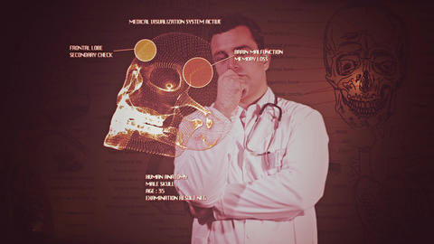 Young Doctor Touchscreen Medical Brain Examination Retro 6 Stock Video Footage