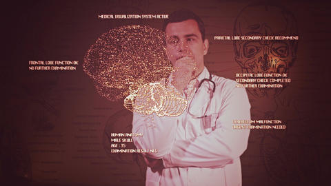 Young Doctor Touchscreen Medical Brain Examination Retro 6 Footage